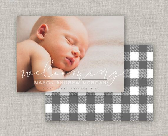 Baby Boy Birth Announcement - Mason Birth Announcements