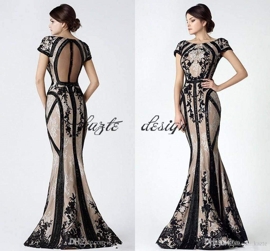 12dd31c8e359 Saiid Kobeisy Vintage Black Champagne Mermaid Prom Dresses with Sleeves 2018  Modest Sheer Back Lace Applique