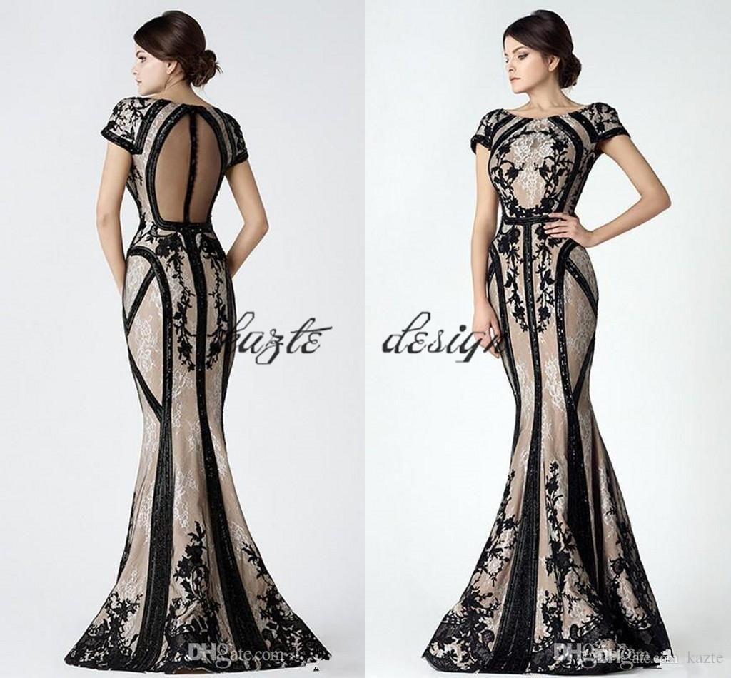 Saiid Kobeisy Vintage Black Champagne Mermaid Prom Dresses with ...