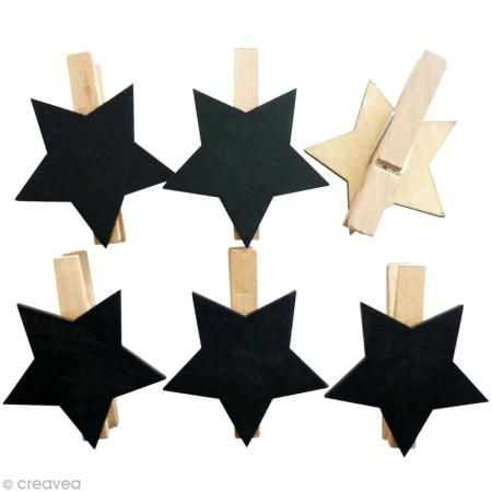 Pinza Estrella Pizarra X 6 Pinzas De Tender Pizarra