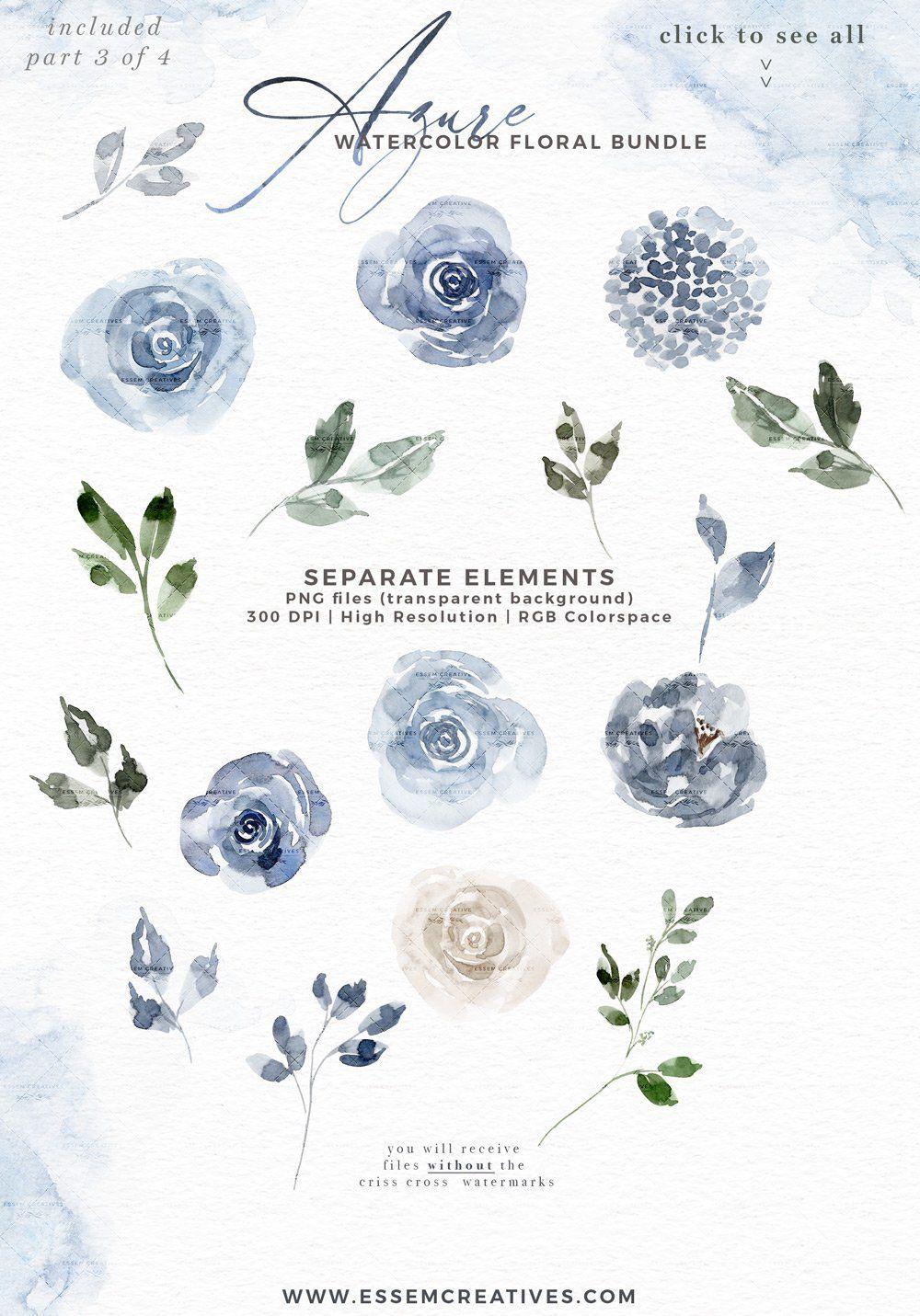 Azure Blue Watercolor Flowers Clipart Pale Dusty Blue Graphics Background Card Borders Templates Essem Creatives Watercolor Clipart Business Branding