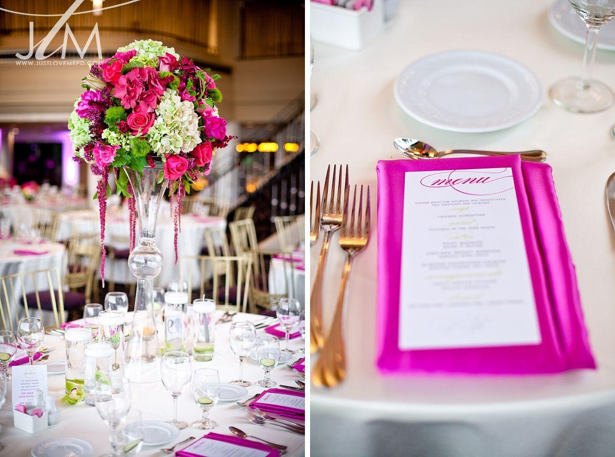 A Hot Pink and Lime Green Glitter Wedding | Glitter wedding, Menu ...
