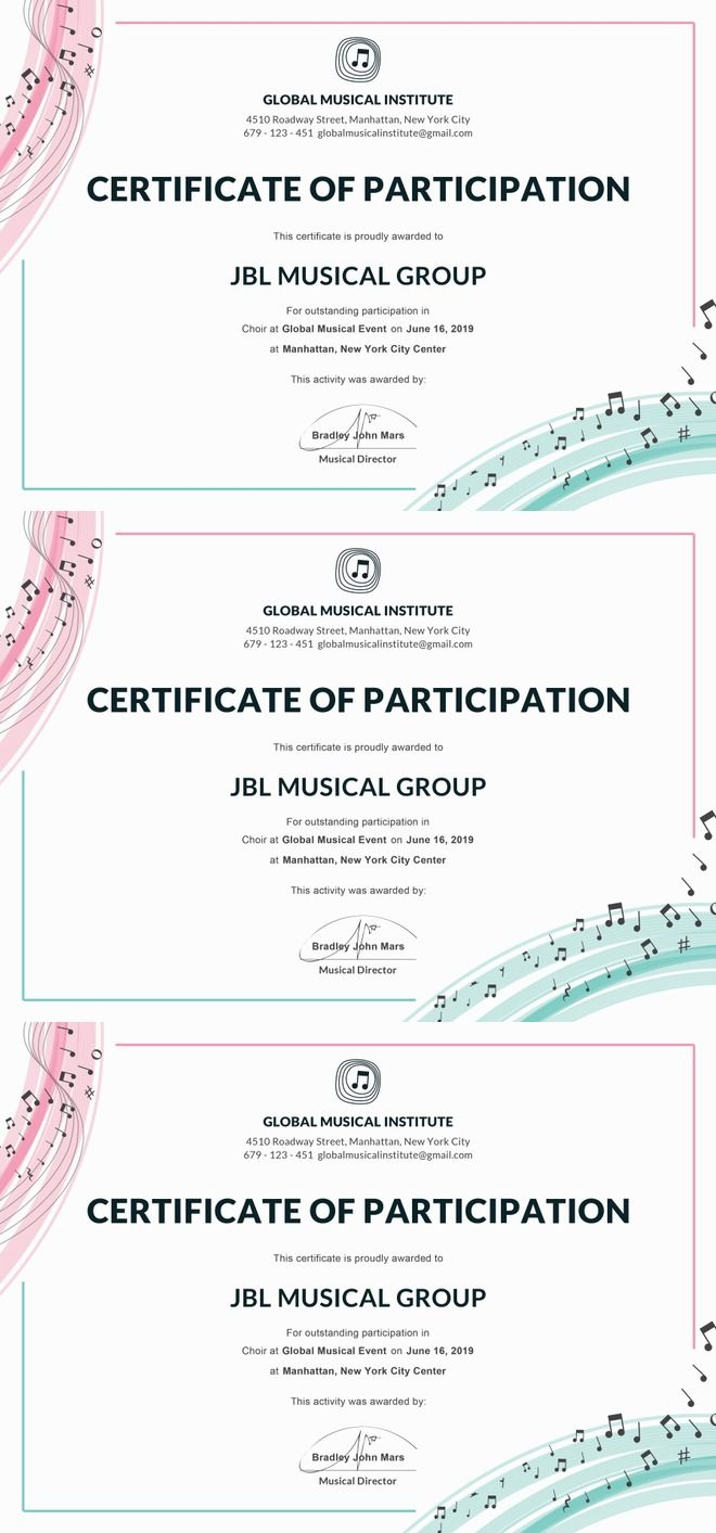 Free Choir Certificate Of Participation Note Pinterest