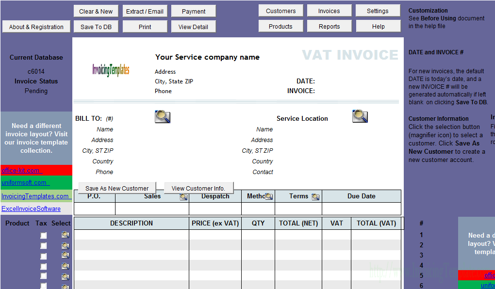 Vat Service Invoice Template Price Excluding Tax Uniform Invoice Software V3 Edition Invoice Template Quotation Sample Invoice Program