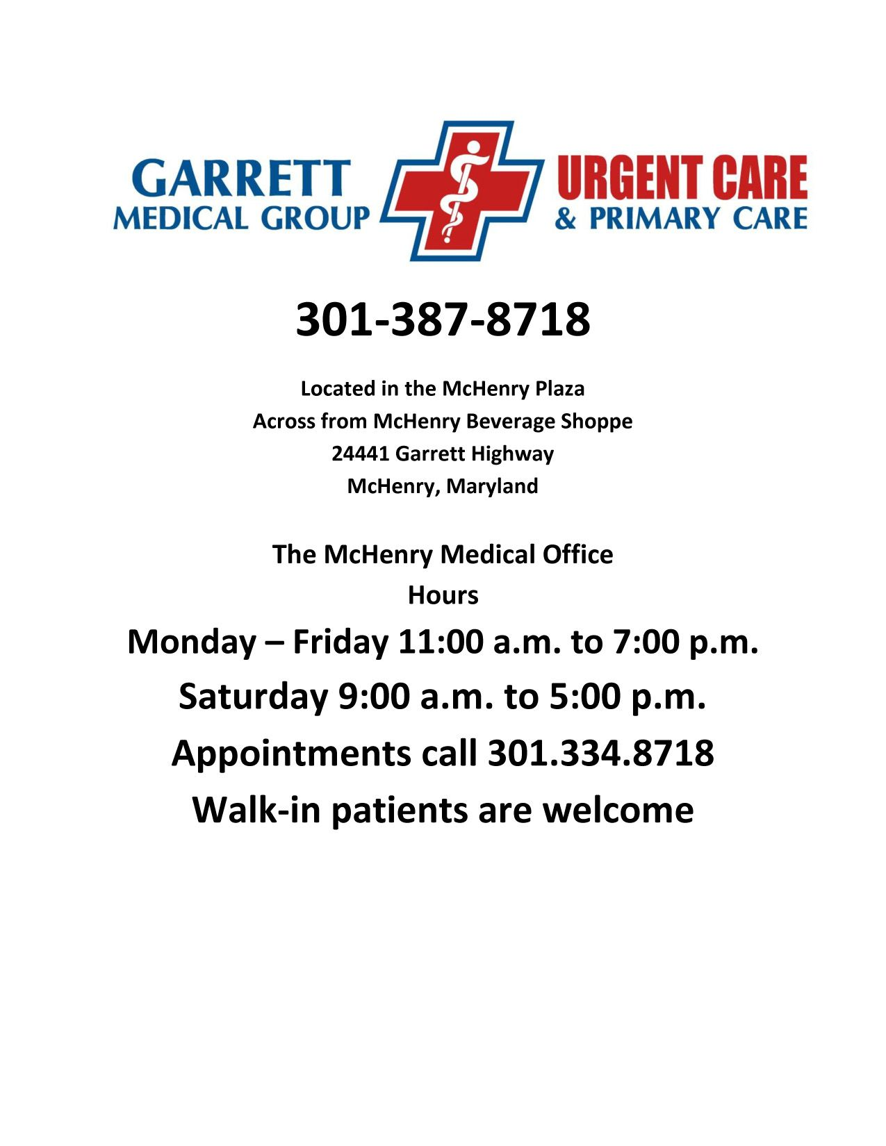 Garrett Medical Group & Urgent and Primary Care | Urgent ...