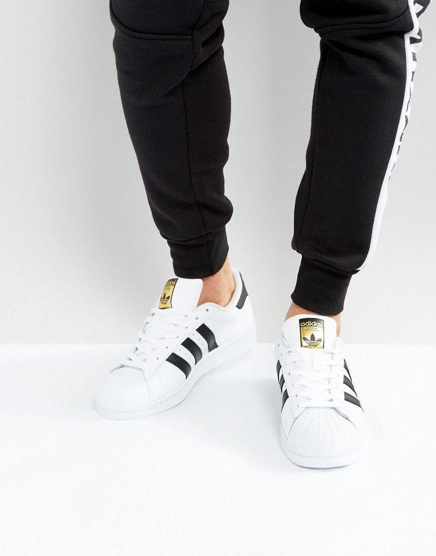 quite nice 32f67 3323b adidas Originals Superstar Sneakers In White C77124 - Black