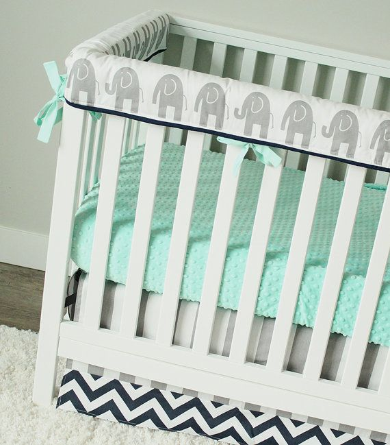 elephant nursery bedding, mint and navy crib bedding