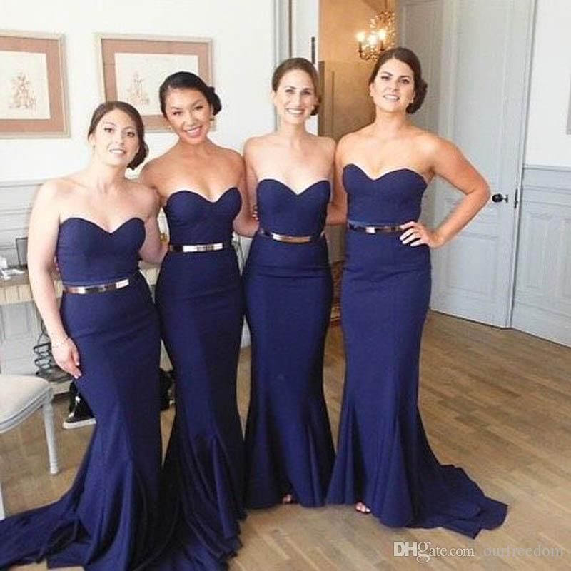 23e1f3de7df Elegant Navy Blue Mermaid Bridesmaids Dresses Fitted Sweetheart Neckline  Sleeveless Wedding Party Gowns With Sash Sweep Train Cheap Custom Brown  Bridesmaid ...