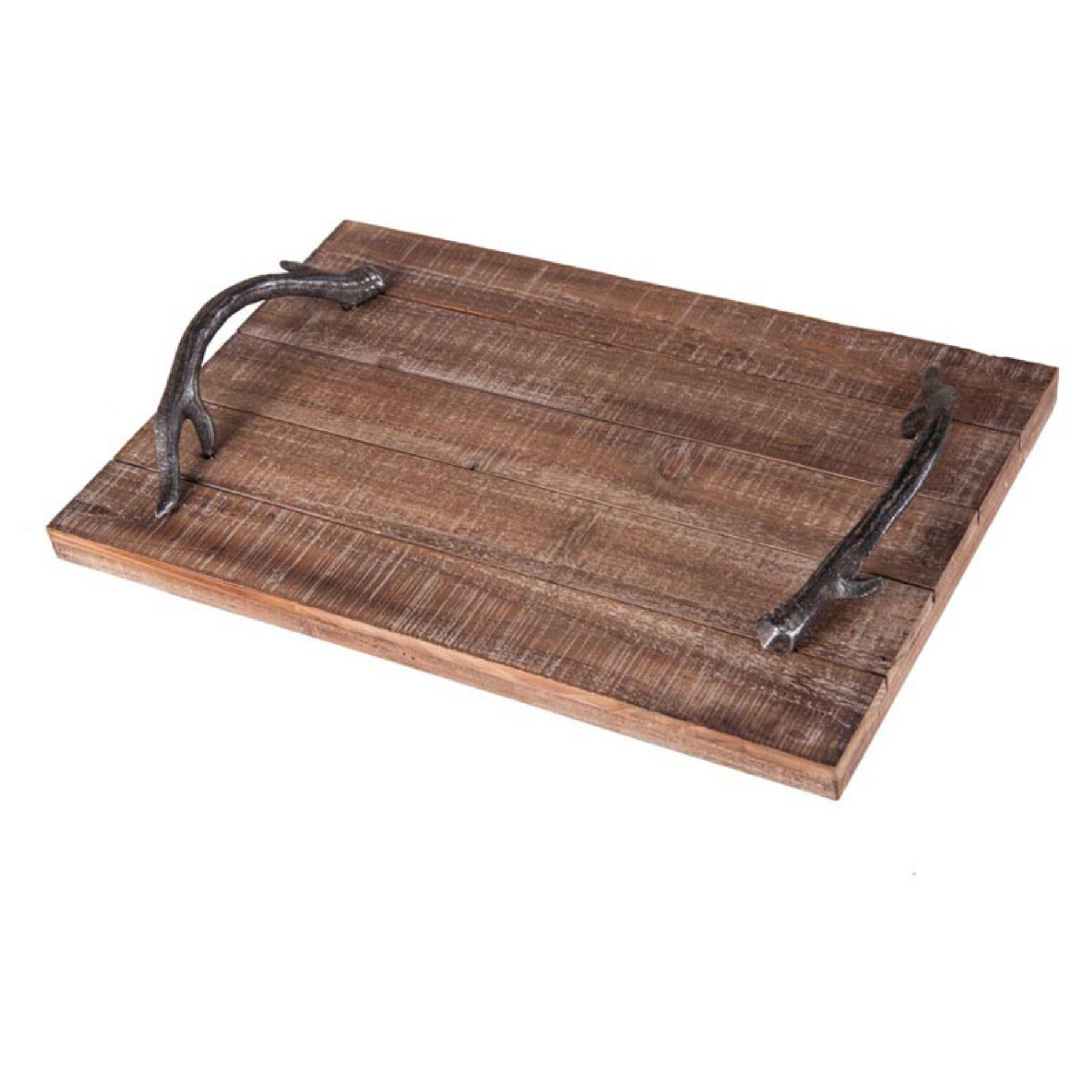 Foreside Home and Garden Wood Tray With Iron Antler Handles ...