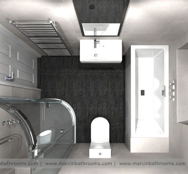 3D bathroom layout, top view | wetroom ideas for small ...