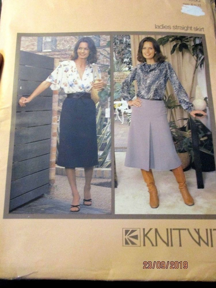 KNITWIT SEWING PATTERN NO. 4500 LADIES STRAIGHT SKIRTS Sizes 6-22 ...