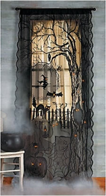 Spooky Creepy Scary Black Lace Lighted Halloween Window Or Door