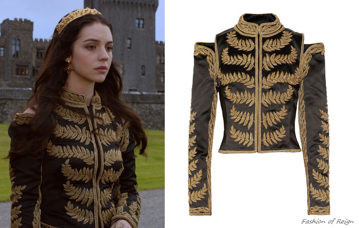 In the third episode Mary wears this Alexander McQueen Embroidered Silk Satin Cropped Jacket (no longer available).