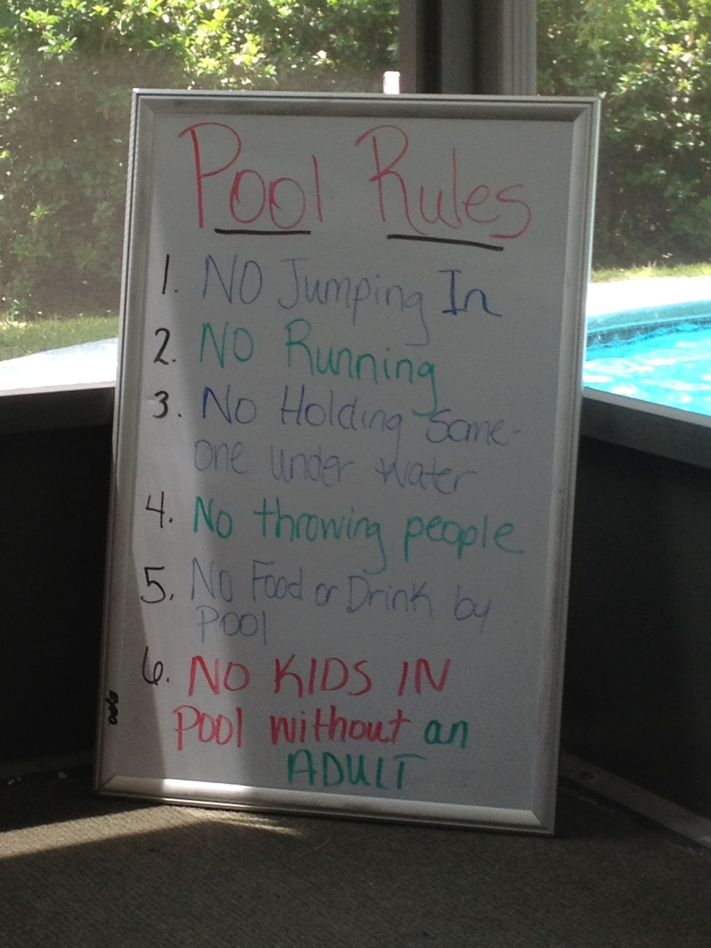White Board with pool rules on it for an at home pool party ...