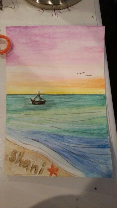 Water Color Pencil Sunset Art Fun Crafts In 2019 Pinterest