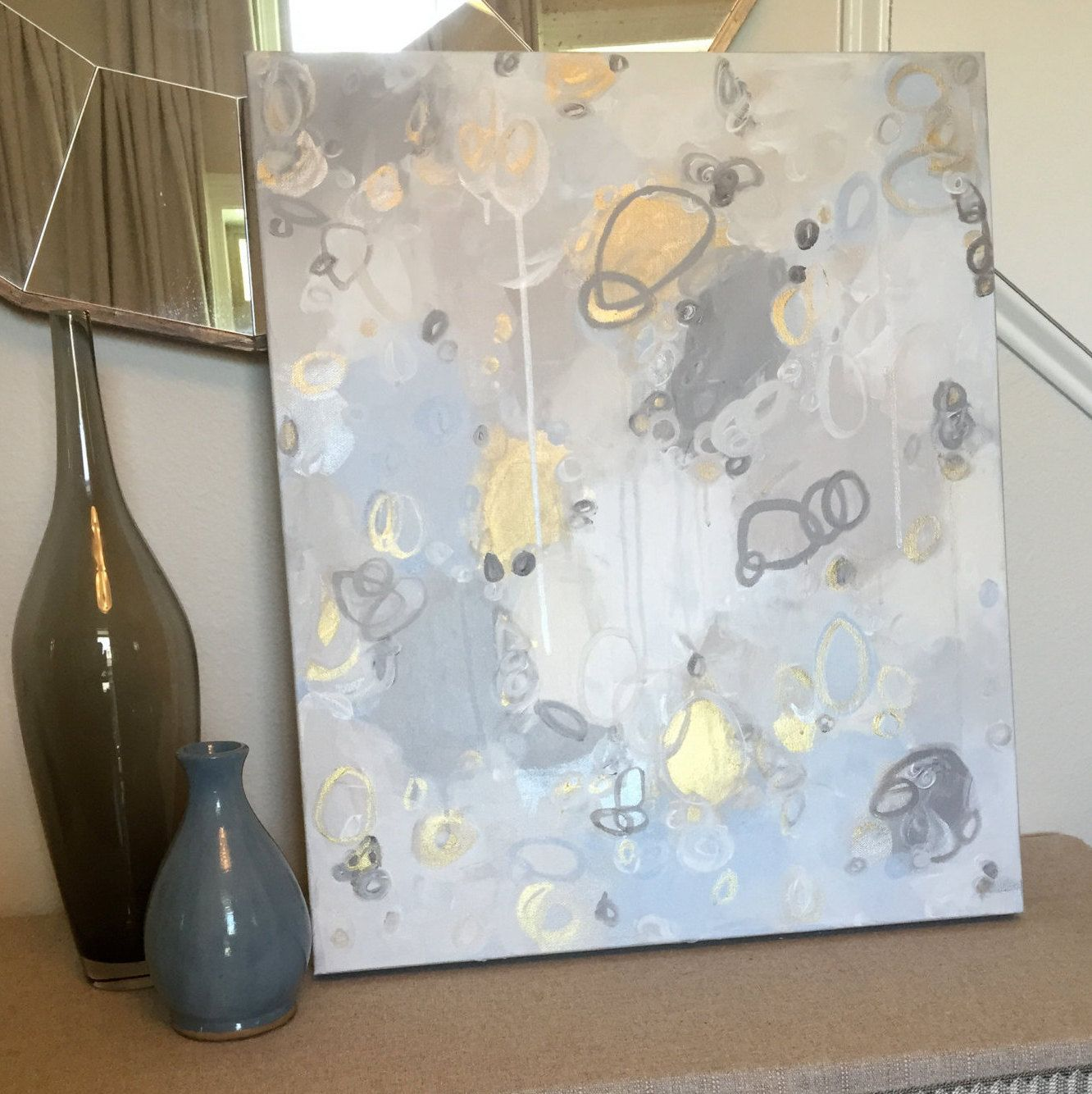 2274c5bc231 Original Abstract Blue, Gray, Charcoal, Taupe, Gold, Brass, White, Cream  Painting by CRESCENTandGOLD on Etsy