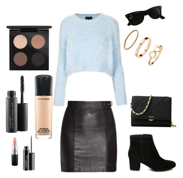 """""""Black and Blue"""" by gulyazde ❤ liked on Polyvore featuring Topshop, Yves Saint Laurent, MAC Cosmetics, Steve Madden, Ray-Ban and Michael Kors"""