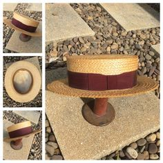 435235c4b56 BROOKS BROTHERS antique vintage natural straw maroon ribbon boater .