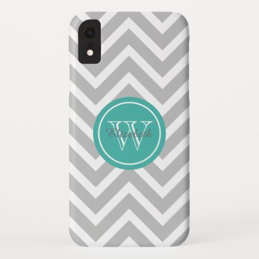 Gray Chevrons Turquoise Monogram iPhone XR Case Iphone