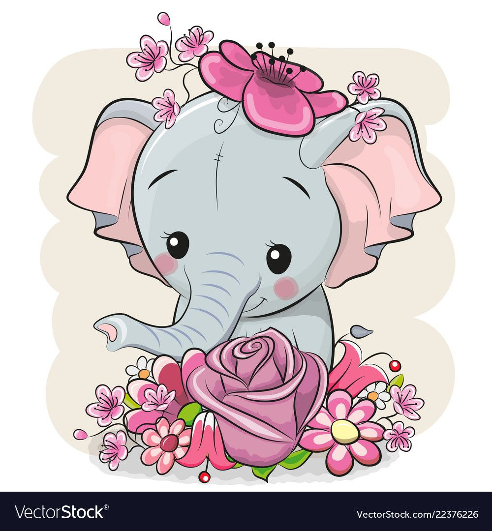 Cartoon elephant with flowerson a white background ...