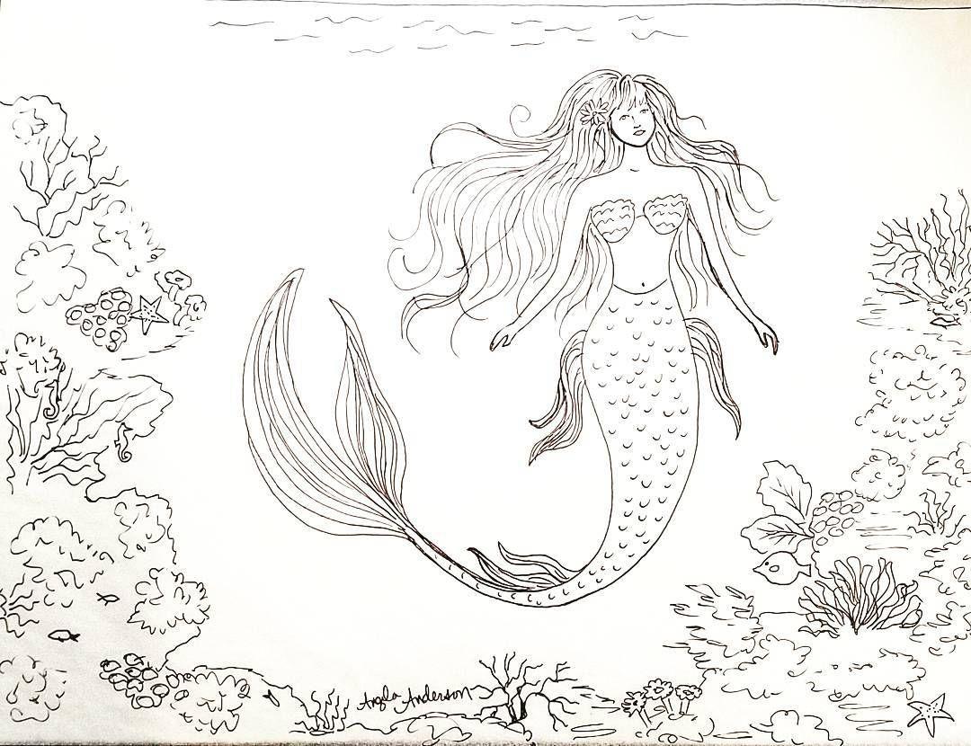 mermaid traceable coloring sheet angelafineart mermaid ocean art