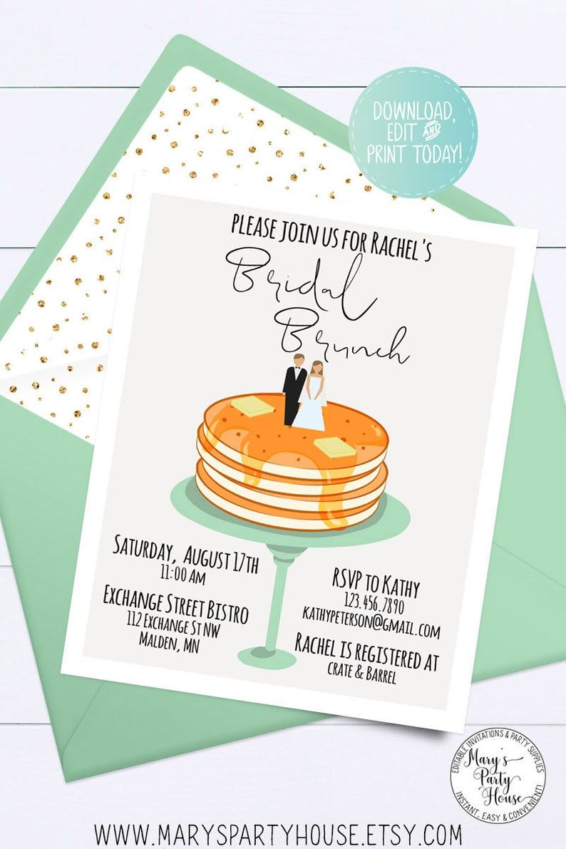 EDITABLE Bridal Brunch Shower Invitation, Personalized Bride and Groom, Instant Download, Printable Invite Template, Bridal Brunch, 005-M