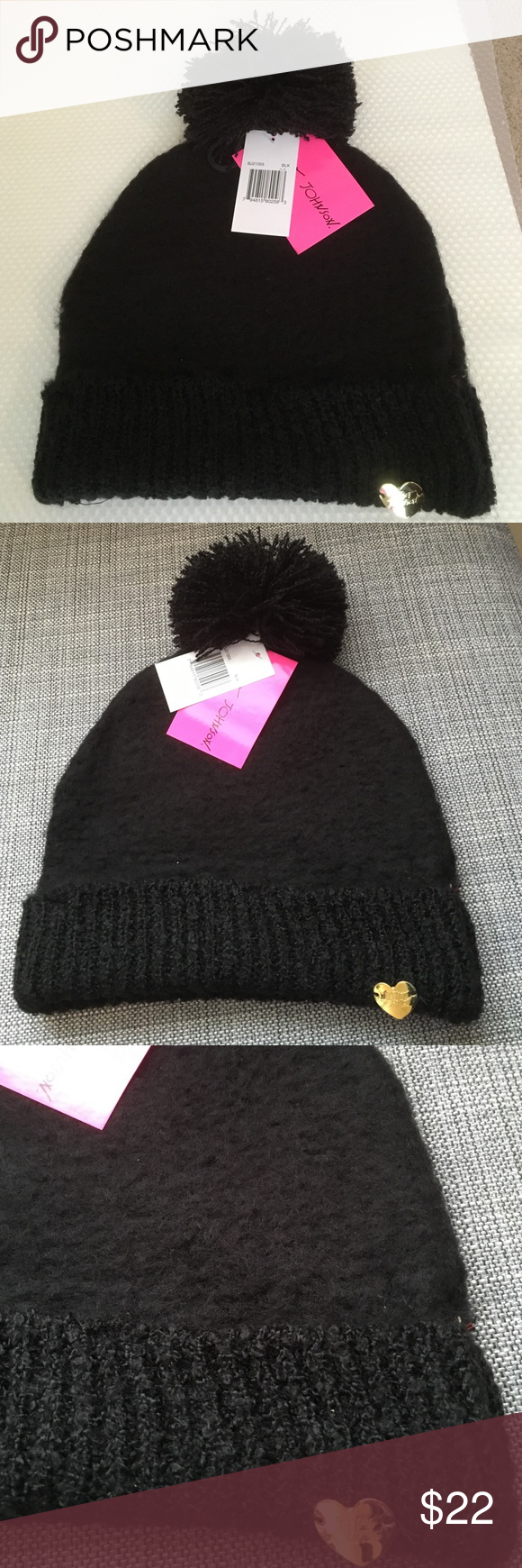 a7433205508 Betsey johnson black cuff hat betsey johnson black plush beanie hat for a  whimsical look acrylic