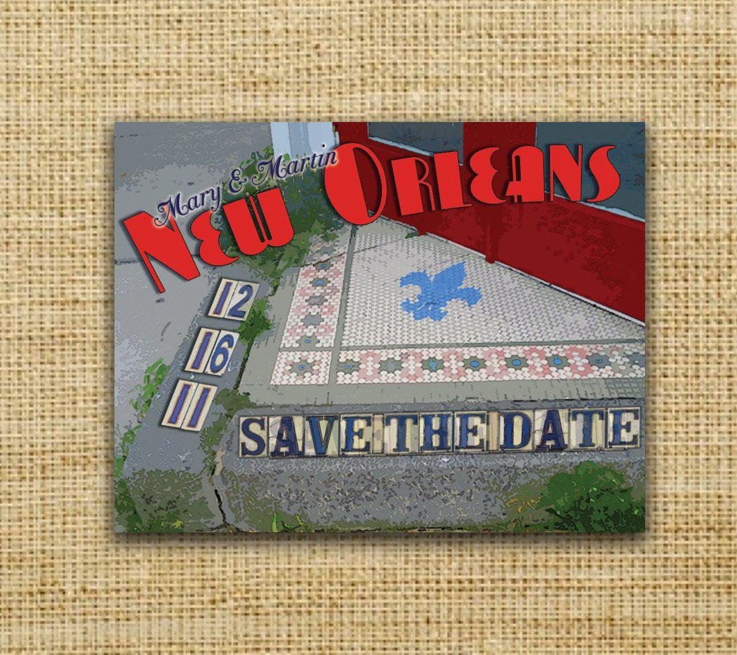 New Orleans Tile Vintage Postcard Save the Date | Vintage postcards ...