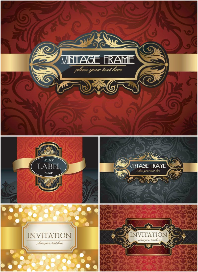Vintage invitations with decorative frames vector frames vintage invitations with decorative frames vector stopboris Choice Image