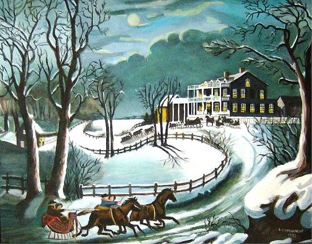 Winter Evening Acrylic Painting By Steven Chateauneuf Painted In 1983 Copy Of Currier Ives Painting Photo Of This Painting Was Taken Also By Steven Cha Currier And