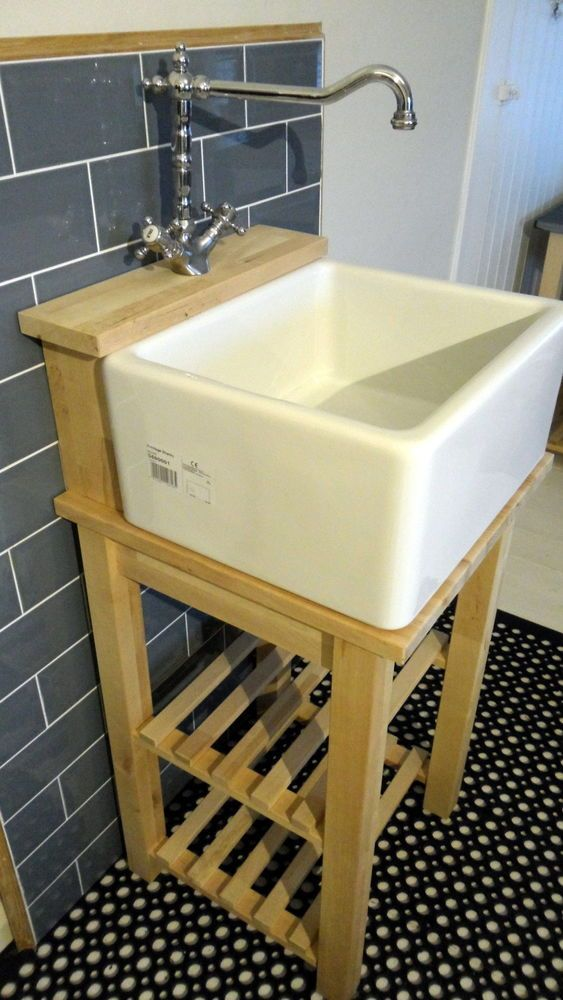 Details About Belfast Baby Belfast Sink Stand Unit Oak Tap Ledge Freestanding Heavy Frame Garage Sinkdiy Kitchenssmall