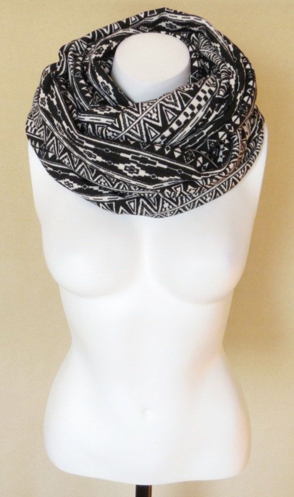 Infinity Scarf Circle Scarf Eternity Scarf Jersey Scarf Black And White Ethnic Tribal Print Chunky Scarf. $34.00, via Etsy.