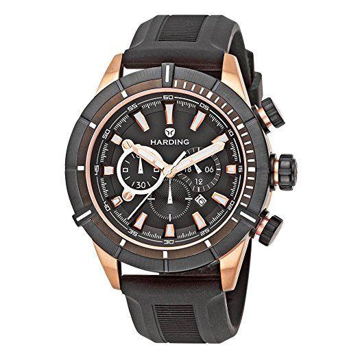 Ha0206 Harding Reloj Caucho Color Negro AceroCorrea De Aquapro QCstrxhd