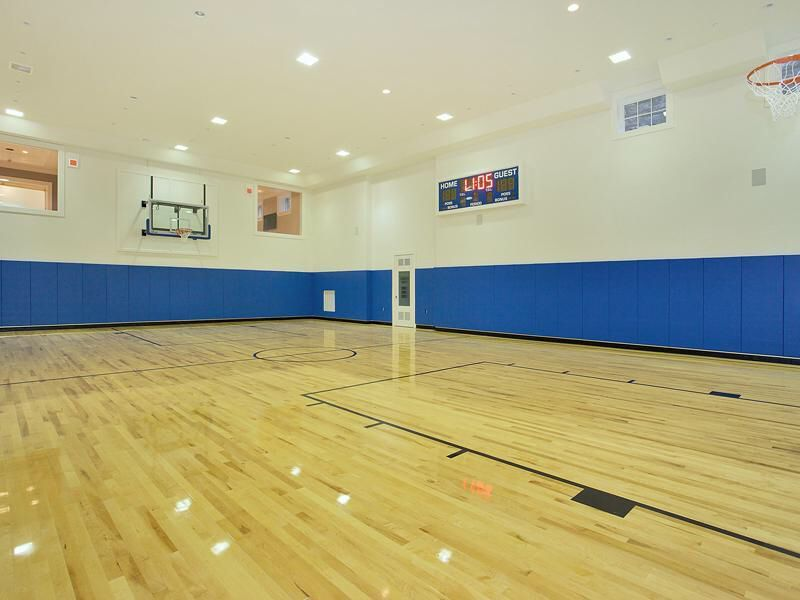 Sports Court At 1 Frick Drive Stone Mansion Indoor Basketball Court Mansions