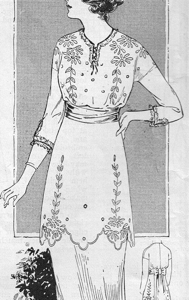 1914 June issue of The Modern Priscilla  White cotton voile belted with a wide ribbon sash with a large bow at the back. The neck and sleeves are edged with fine linen lace