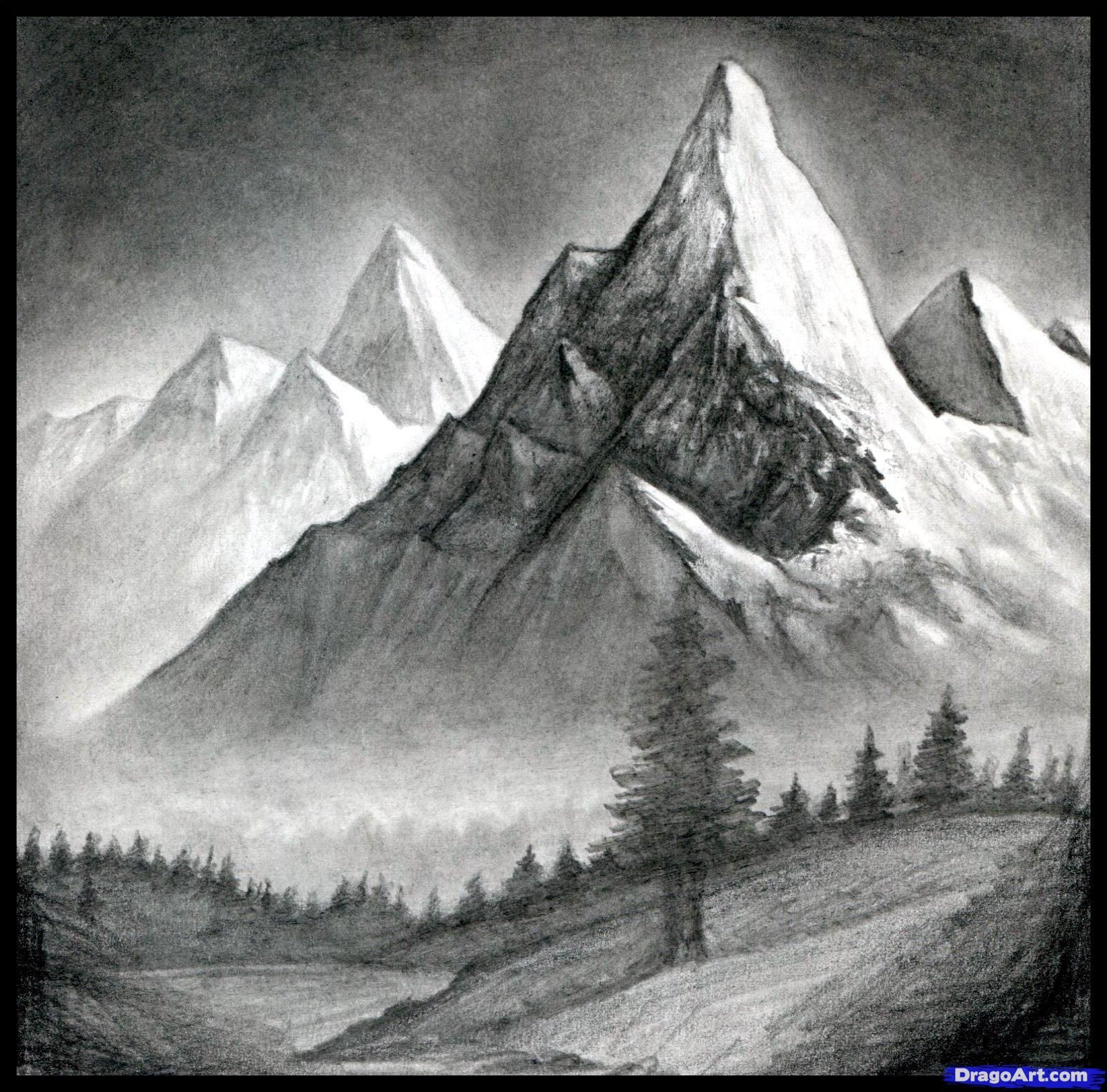 How to draw a realistic landscape draw realistic mountains step 15 landscapedrawing