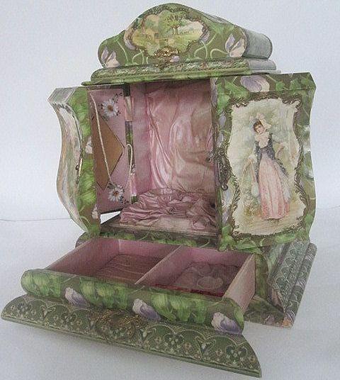 Huge Art Nouveau vanity dresser case French boudoir  celluloid