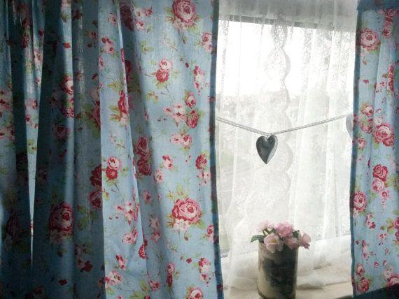 Shabby Chic Curtains Blue Rosali Window By Clarashandmade