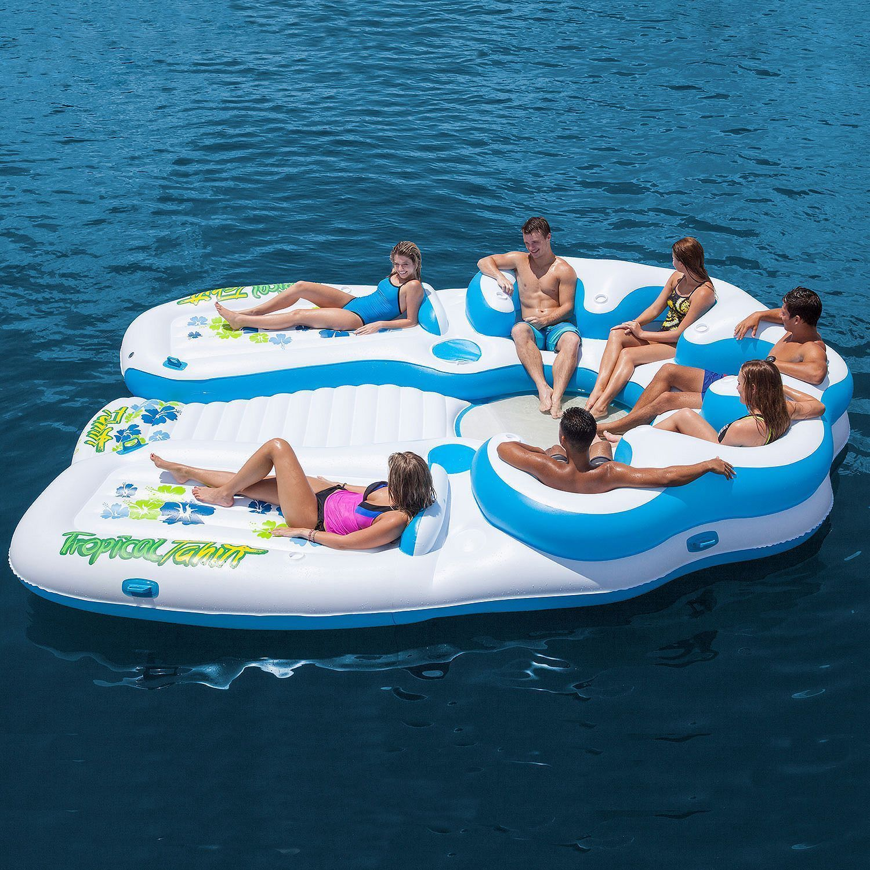 Party Island Beach: Tropical Tahiti Floating Island Inflatable Pool Float