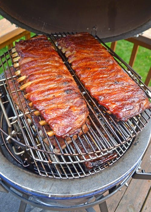 how to cook competition style pork ribs on a kamado grill. Black Bedroom Furniture Sets. Home Design Ideas