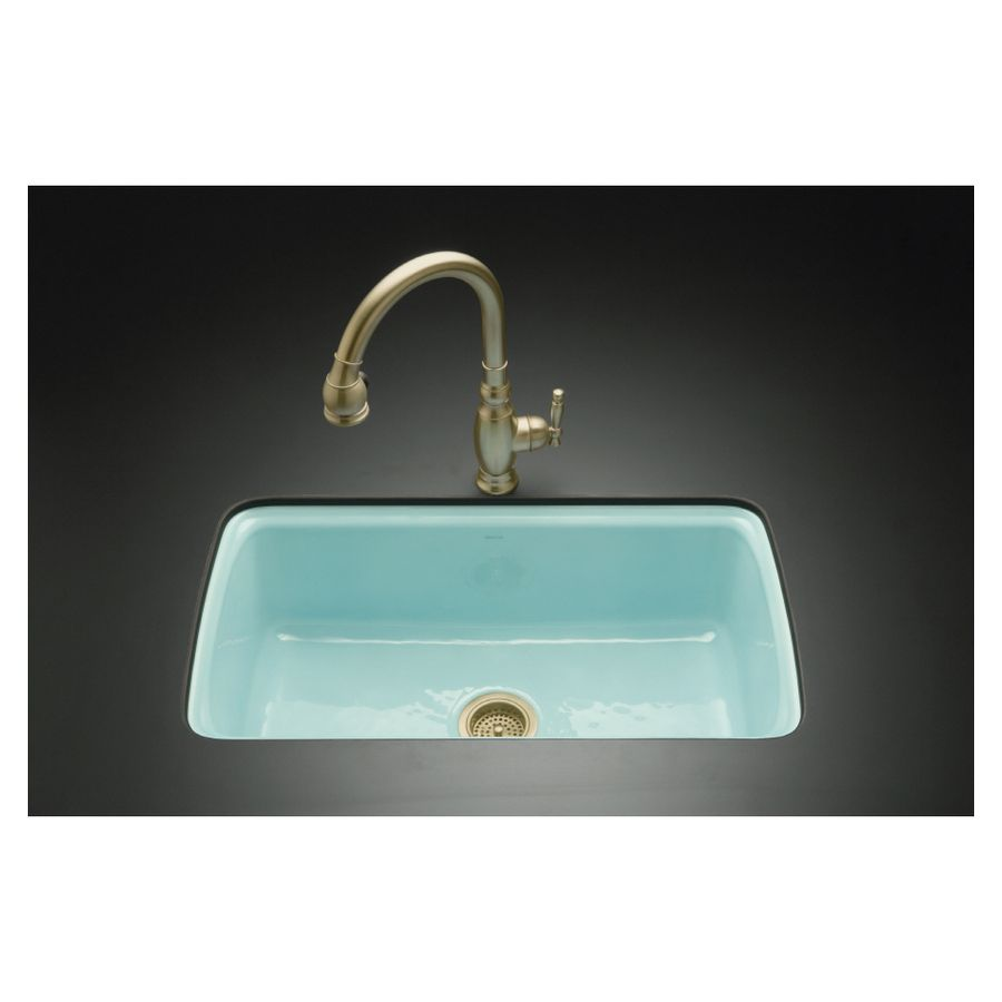 KOHLER Vapour Green 5-Hole Single-Basin Cast Iron Undermount Kitchen ...