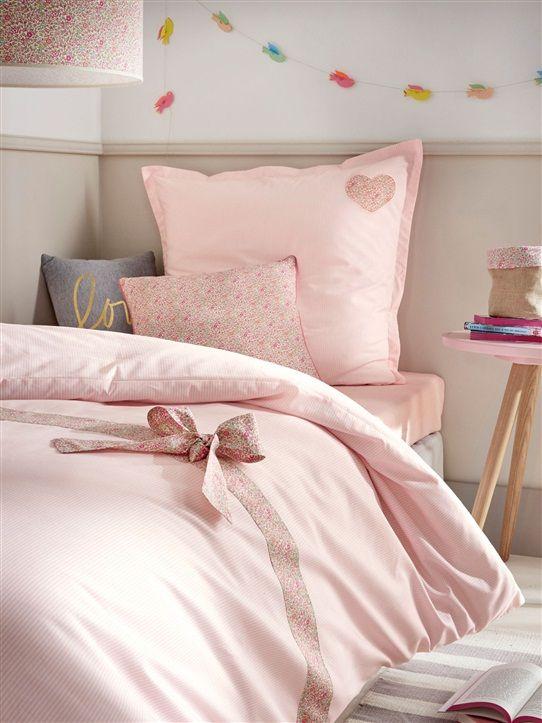housse de couette parure liberty couture raye rose la chambre de julia. Black Bedroom Furniture Sets. Home Design Ideas