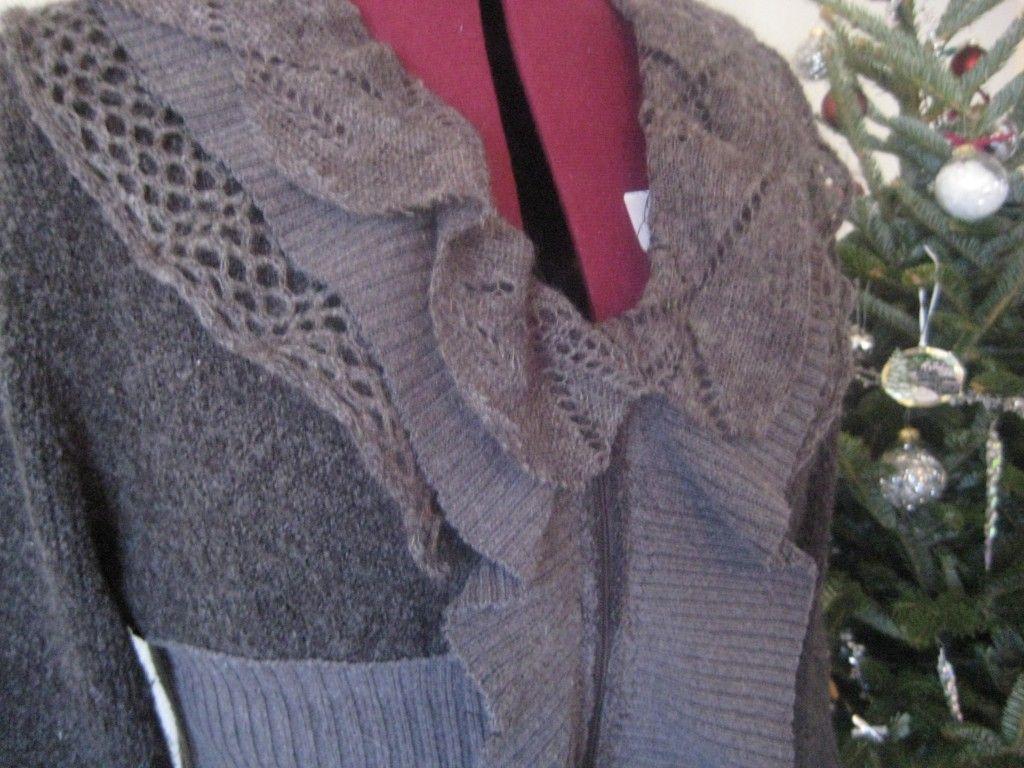 DIY sweater coat with ruffle