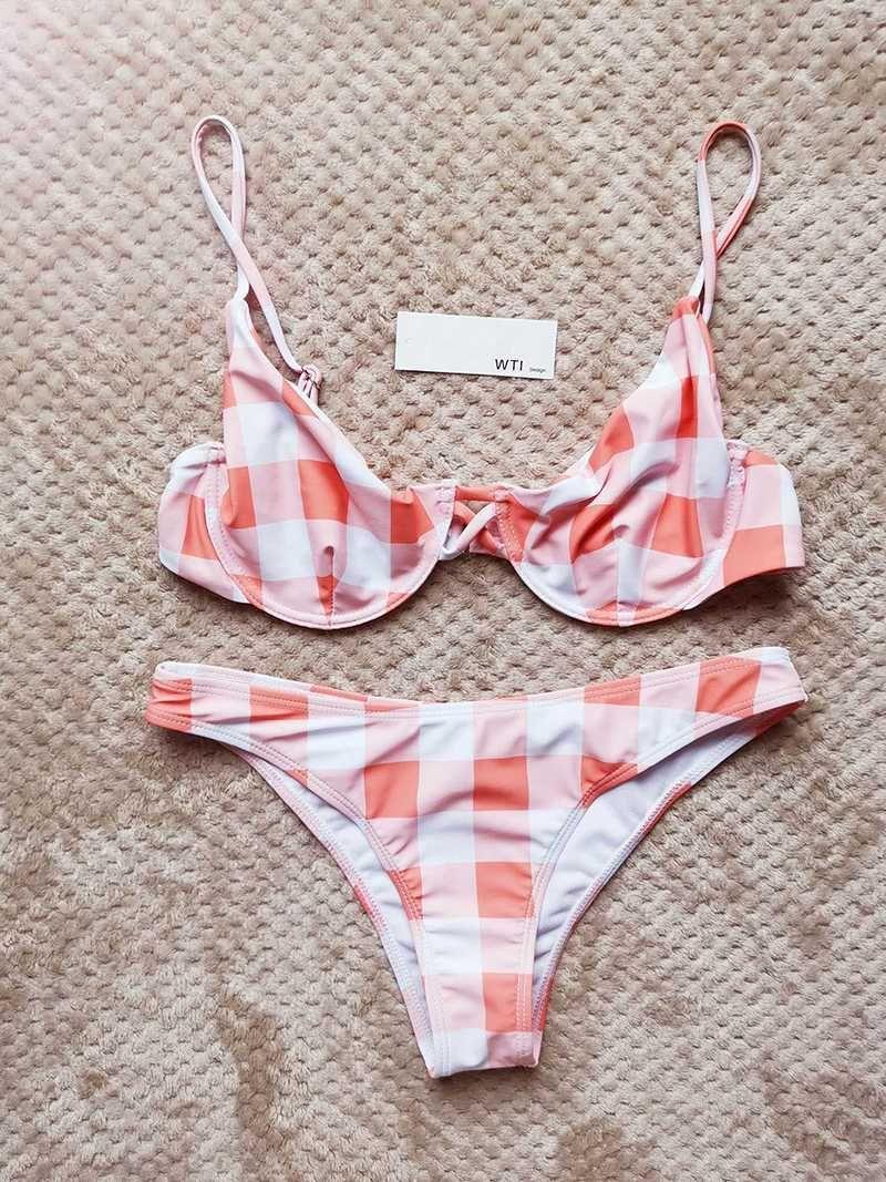 c6c7ca22d3d81 gingham bathing suit pink and white bikini tops bikinis for women ladies swimwear  two pieces