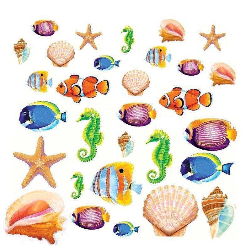 sea life fish ocean creature 30 cardboard cutouts room party wall decorations