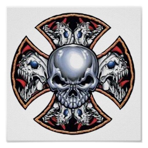 screaming iron skull poster