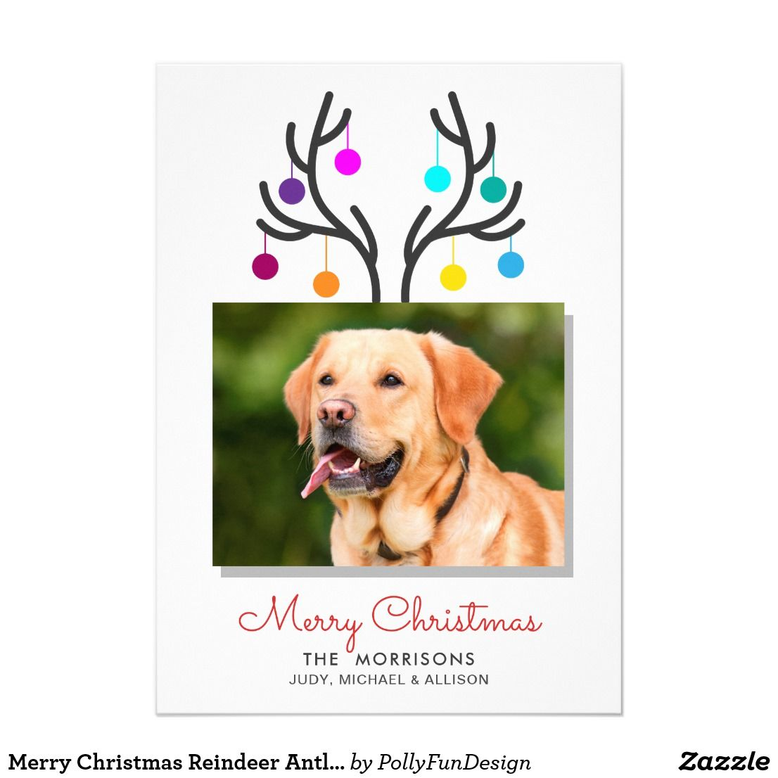 merry christmas reindeer antler photo pet holiday card - Pet Holiday Cards