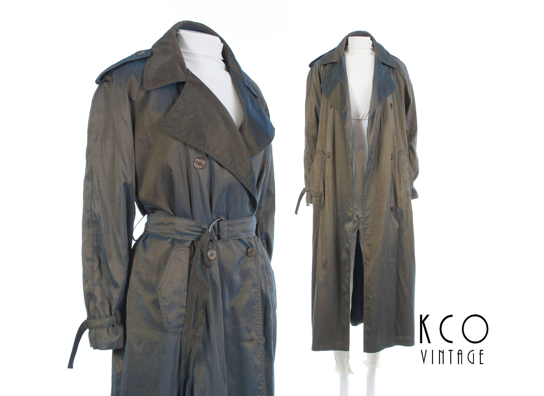 627ea50d68208 90s Trench Coat Iridescent Jacket Long Coat Shiny Raincoat Metallic ...