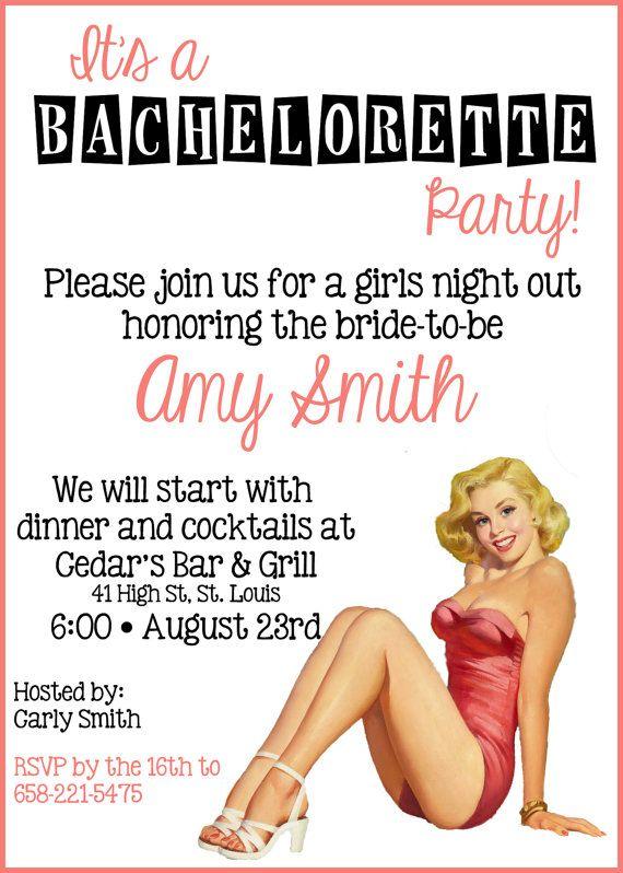 e393a38d6 Retro Pin Up Bachelorette Party Invitation 5x7 Digital File via Etsy