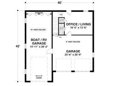 1st Floor Plan of 840 sq ft 2 bathroom apartment. One bedroom or ...